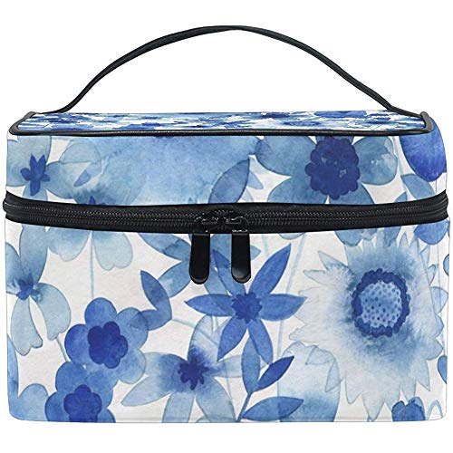 Delft Blue Cosmetic Bag Travel Makeup Train Cases Storage Organizer