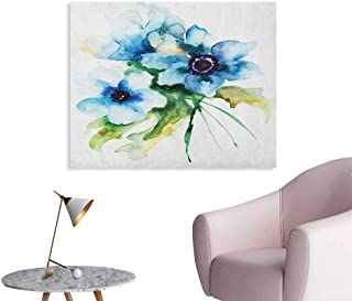Anzhutwelve Watercolor Flower Poster Wall Decor Pale Colored Summer Flower Painting with Leaves Bouquet Nature Art The Office Poster Teal Green White W36 xL24