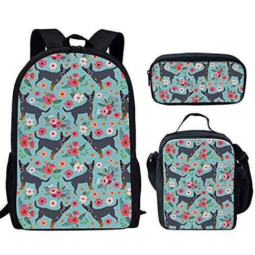 Howilath Juego de bolsas escolares de 17 pulgadas, diseño divertido para adolescentes y niñas con estuche para lápices, Perro ganado australiano floral, 17 inch (3PCS Set), Juego de bolsos escolares