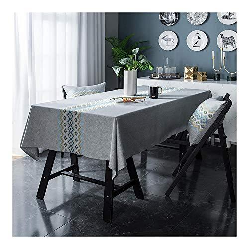 Mantel Rectangular,120x175cm Manteles Impermeable,Algodón Lino Paño de Mesa Antimanchas,Mantel Bordado Manteles para Cocina Comedor Mesa Buffet Mantel de la Tabla,Gris