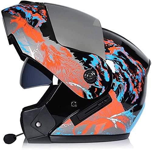 NZGMA Casco de Motocicleta con Bluetooth de Doble Visera abatible, Casco Integral para Adultos y jóvenes, Casco toECEerreno Four Seasons Casco de Motocicleta de Choque para Motocicleta, Aprobado