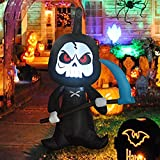 GOOSH 6 Feet Tall Halloween Inflatable Outdoor Grim Reaper, Blow Up Yard Decoration Clearance with LED Lights Built-in for Holiday/Party/Yard/Garden