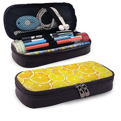 Estuche de cuero para lápices, limón, naranja, limón, cítricos, corte redondo, patrón grande y pequeño, estuche para bolígrafos de oficina para estudiantes, 19,8 x 11,4 x 3,8 cm