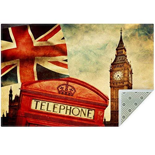 LORVIES London Big Ben - Alfombra antideslizante para salón o dormitorio, 59 x 39 pulgadas, poliéster, multicolor, 160x120cm/63x47in