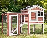 Zebery Kaninchenstall Hasenstall Käfig Haus Meerschweinchenstall Versteck/Auslauf mit Linoleumdach 2-stöckig