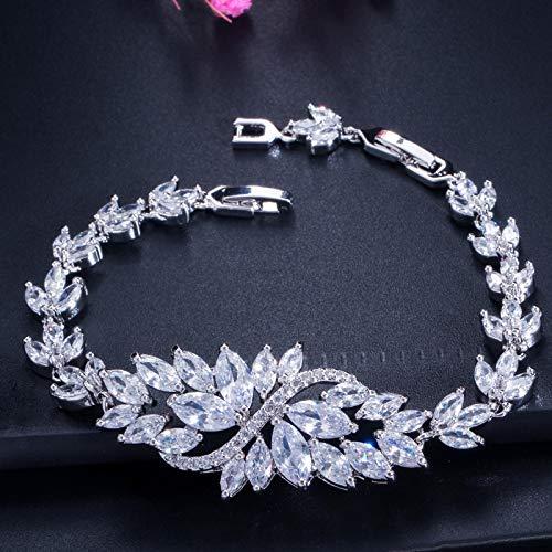 Bracelet For Women 6 Colors Choice Luxury Women Party Evening Jewelry Big Green Crystal Bridal Wedding Bracelet Bangle For Women White