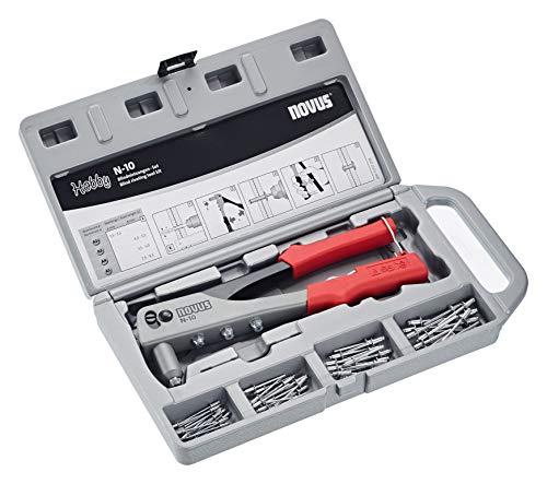 Novus Blindnietzange N-10 Set im Koffer - inkl. 15x Aluminium Blindniete A2.5, A3, A4 und A5, Nietenzange für 1-Hand-Bedienung