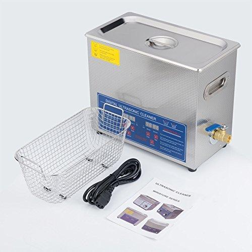 Sfeomi Limpiador Ultrasónico Digital 180W 6L Limpiador Ultrasónico con Temporizador Digital Máquina de Ultrasonido para Limpieza de Acero Inoxidable para Limpiar Anteojos Anillos (6L)
