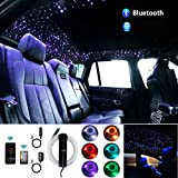 AKEPO Car Home Upgraded APP+Music Control 6W Fiber Optic Lights Star Ceiling Light Kit, RGB Sound Sensor Light Source+Mixed Fiber Cable 295pcs(0.75+1+1.5mm)9.8ft/3m+28key RF Musical Remote