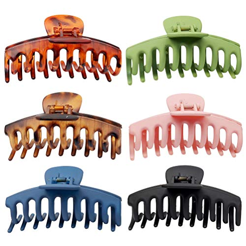pengxiaomei 6 pcs Matte Plastic Hair Claw Clips, Nonslip Large Girls Hair Claw Clips Jaw for Women and Girls Thin Hair, Strong Hold for Thick Hair(4.3 Inch)