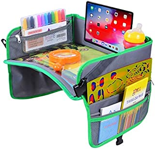 Kids Travel Tray for Cars, Plane, Stroller, Lap - Car Seat Activity Table with Zippered Pockets, Cup/Tablet Holders and Large Surface for Snacking, Homework, Play, Drawing