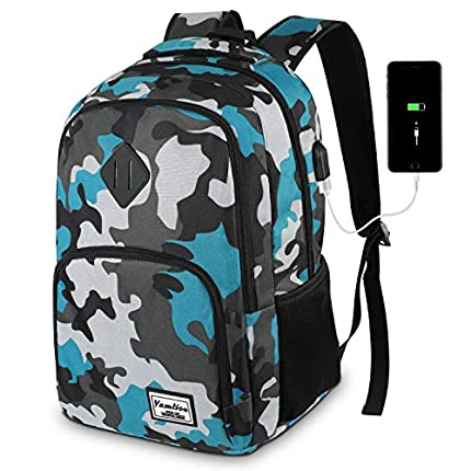 Mochila Portatil Mochilas Escolares Juveniles con USB Puerto para Escolar Negocio- 35L (15.6 Pulgada, B6-Camuflaje Azul)