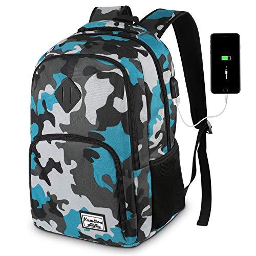 YAMTION Rucksack Jungen Teenager,Schulrucksack mit USB-Ladeanschluss und 15.6 Zoll Laptopfach für Schule