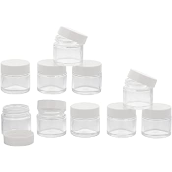 6 leer Glastiegel Weiß 30 ml Tiegel Cremedose Glas Kosmetikdose Cremetiegel