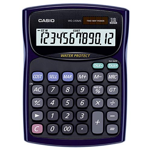 Casio WD-220MS-BU Desktop - Water Protected and Dust Proof Standard Calculator
