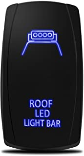 MicTuning LS083001-HF, Laser Roof LED Light Bar On-Off Rocker Switch with Jumper Wire, 5 Pin, 20 Amp, 12V LED Lights, Blue