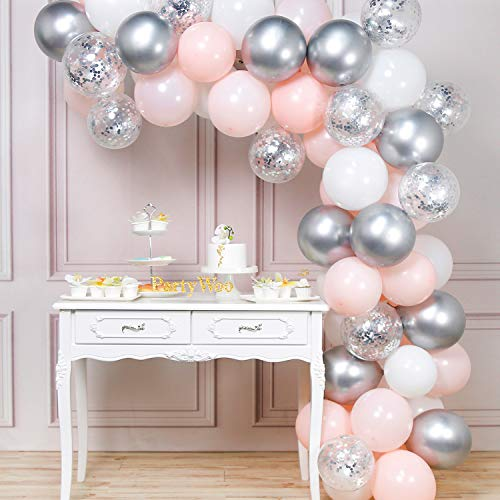 PartyWoo Ballons Rosa Weiss Silber, 60 Stück Luftballon Rosa, Weiß Luftballons, Silber Ballon Metalic, Ballons Konfetti Silber, Ballons Rosa Silber, Luftballons Rosa Weiss für Hochzeit, Taufe Mädchen