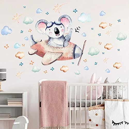Dibujos Animados Oso Avión Nube Decoración Pegatinas De Pared Para Habitación De Niños Avión Vinilo Pared Calcomanías Arte Murales Decoración Del Hogar Papel Tapiz