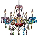 Saint Mossi Modern K9 Crystal Chandelier with 5 Lights,Colorful Painted,Contemporary Pendant Ceiling Lighting Fixture for Dining Room,Bedroom,Living Room,H19' x W19' with Adjustable Chain
