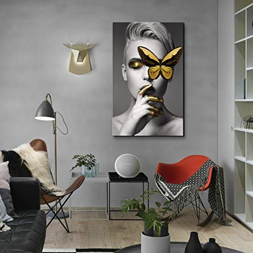 Canvas Wall Art Abstract Sexy Beauty with Gold Butterfly Black and White Wall Decor, Fashion Women Art Modern Wall Painting for Home Decor Stretched Ready to Hang 24x36 inches