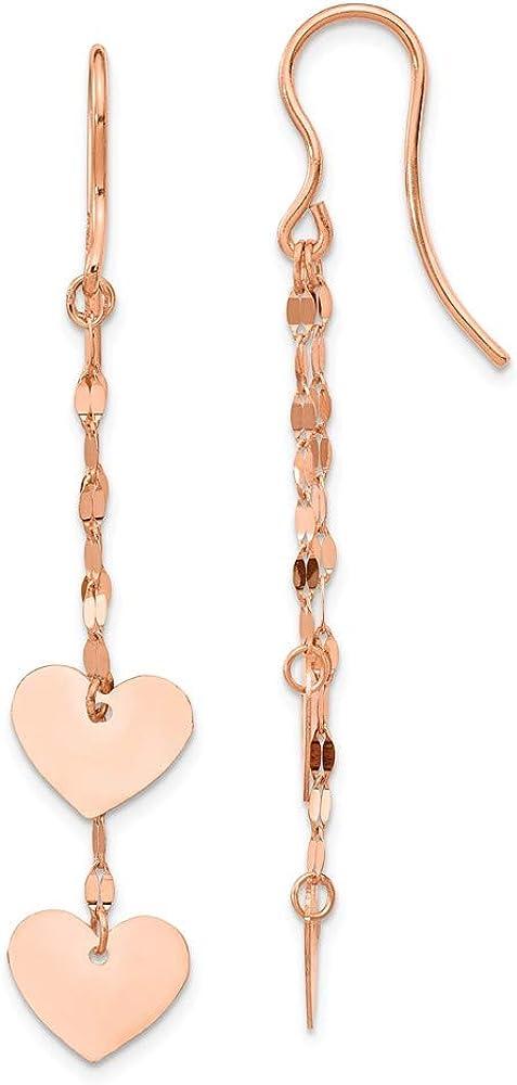 14k Rose Gold Heart Drop Dangle Chandelier Earrings Love Fine Jewelry For Women Gifts For Her