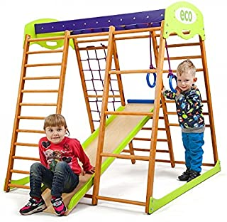 Wooden Playgrounds Karamelcek Home Gymnastic, Wood Indoor Jungle Gym Sets, Climbing Kids, Indoor Children Playground, Baby Play Area Complete with Climbing Ladder Slide Rings & Swing, Sport