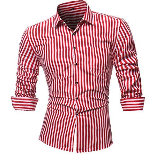 Camisa A Rayas Para Hombre Clásico De Personalidad Y Impreso Camisas De Hombre Delgadas Blusa Camisa De Negocios Moda De Manga Larga Con Cuello Buttondo Camisas De Hombre De Negocios Slim Fit Camisa D