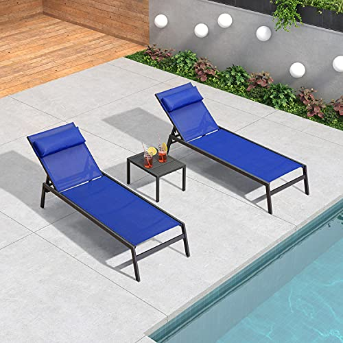 PURPLE LEAF 3 Pieces Outdoor Chaise Lounge Set Adjustable Textilene Patio Lounge Chair Set with Side Table All Weather Outdoor Reclining Chair with Pillow for Garden Pool Balcony, Royal Blue