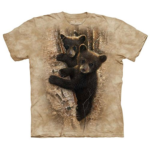 The Mountain Adult 100% Cotton Curious Cubs Realistic T-Shirt (Tan, Large)