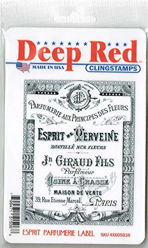 Deep Red Stamps Esprit Perfumeries Label Rubber Stamp