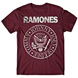 LaMAGLIERIA T-Shirt Uomo Ramones - Grunge Print Maglietta Punk Rock Band 100% Cotone, M, Burgundy
