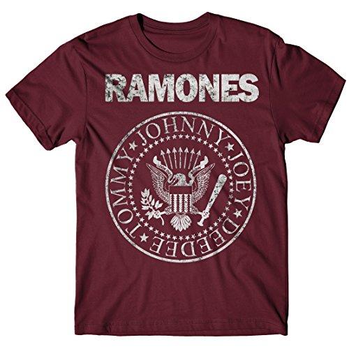 LaMAGLIERIA Camiseta Hombre Ramones - Grunge Print T-Shirt Punk Rock Band 100% algodòn, XL, Bordeaux