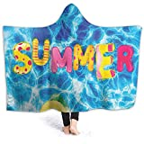ThinkingPower Hoodie Blankets Ball Like Letter Pool Differen Summer Hot Vib Image Multicolor Throw Blankets with Hood Soft Touch and Excellent Hand Feeling 80 x 60 Inch