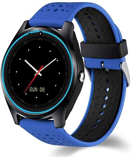 Reloj inteligente con cámara reloj inteligente podómetro salud deporte horas hombres mujeres reloj inteligente para Android IOS fácil de usar azul-verde-azul