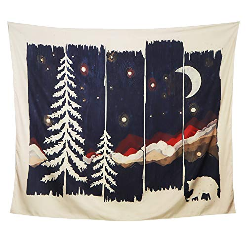 Dark Night Mountain Moon Tapestry, Dark Night, Stars, Moon, Forest, Black and Beige Beautiful Scenery, Tapestry Wall Hanging For Living Room Bedroom Dormitory Wall Decoration (59.1x51.2inch)