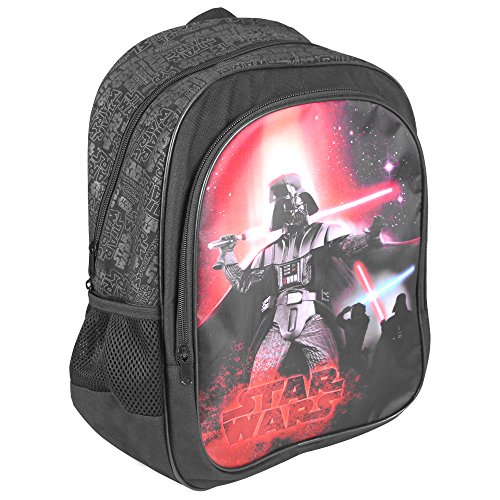 PERLETTI: Mochila Niño Star Wars   Bolso Escolar con Bolsillo Frontal Estampado de Darth