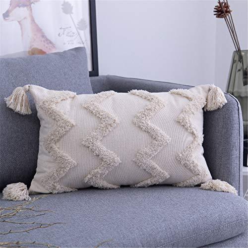 SWECOMZE 1 Stück Boho Kissenbezug Kissen Baumwolle Dekokissen Marokko getuftete Kissenbezüge für Sofa Schlafzimmer Wohnzimmer (B,30x50cm)