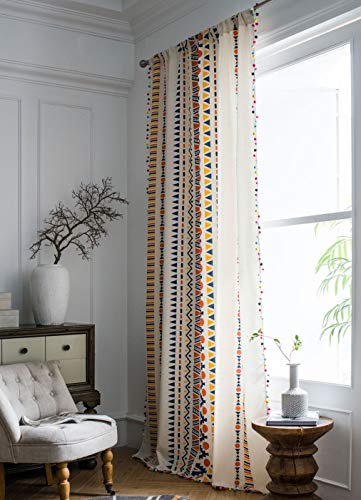 """Muccyy Boho Chic Cotton Linen Window Curtains with Colorful Pom Pom Geometric Print Bohemian Semi Blackout Curtains for Bedroom Living Room, 1 Piece,59"""" Wide 94"""" Long"""