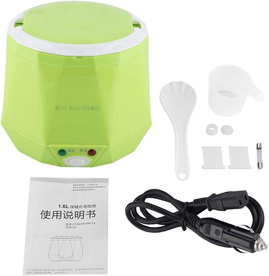 Mini olla arrocera 24 V 140 W 1,6 L olla arrocera para coche, olla arrocera eléctrica portátil multifuncional, vaporizador de alimentos para camión(Verde)