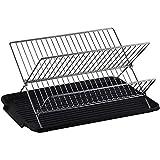 Estante plegable para secar platos de acero inoxidable de 2 niveles con bandeja de...