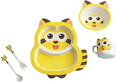 JSTOR Eco-Friendly Bamboo Fibre Reusable Cat Plate, Bowl, Glass, Spoon and Fork Dinnerware Set for Kids (Yellow) - 5 Piece