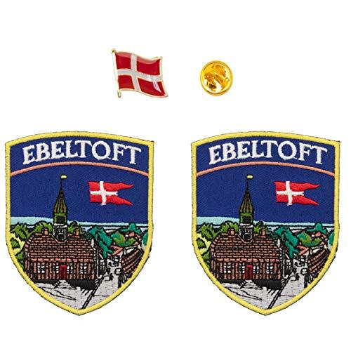 A-ONE 2 + 1 Stück Packung -Ebeltoft bestickter Schild-Aufnäher, 2 Stück + dänische Dänische Flagge,...