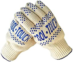 THE AMAZING COOL-TOUCH OVEN GLOVE 570°F EXTREME HEAT RESISTANT PROTECTION WITH NON SLIP ADVANCED SILICONE SAFETY GRIP FOR COOKING, BARBEQUES AND HOT SURFACE HANDLING - BUY SINGLE GLOVE OR PAIR.