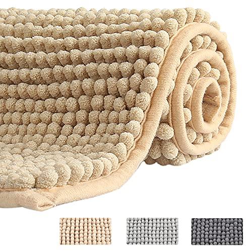 CHEPULA Badezimmerteppich, 50 x 80 cm Badematte rutschfest, Premium Mikrofaser Chenille Weicher & Waschbar Badteppich, Wasserabsorbierender Badvorleger, Beige