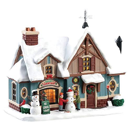 Lemax 85356 - Snow Day - Beleuchtung und Animation (Inside Scene) - Beschneite Hütte Merry Christmas - NEU 2018 - Caddington Village - LED Porzellan Haus - Kleine Weihnachtswelt/Weihnachtsdorf