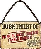 "Targa in metallo divertente con scritta in lingua tedesca: ""DU BIST nicht DU, WENN DU Nicht Traktor Fahrenheit"", idea regalo per i fan del trattore, 18 x 12 cm"