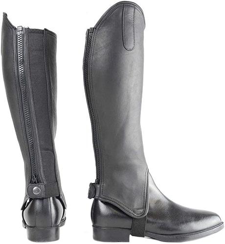 HY Guêtres d'équitation en cuir Noir