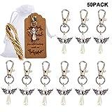 Amajoy 50Pack ange gardien porte-clés porte-bonheur pendentifs avec sacs en organza et carte de remerciement mariage faveur bébé douche faveur cadeau de Noël