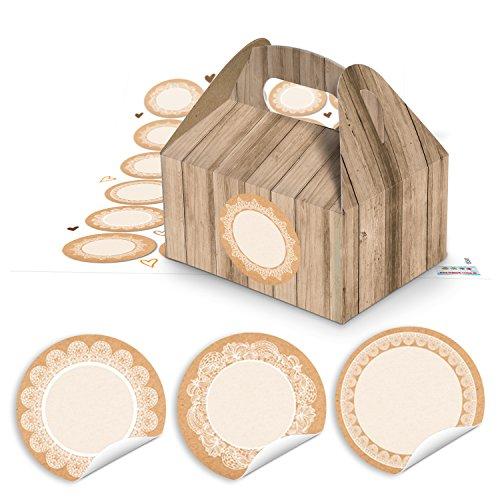 24 kleine geschenkdozen houtlook bruin 9 x 12 x 6 cm + 24 ronde blanco stickers 4 cm kraftpapier kant vintage wit beige verpakking cadeau doos doos give-away geschenken bonbons