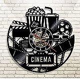 yltian Reloj de Vinilo Reloj de Cine Reloj de Cine Logo de Cine Palomitas de maíz Disco de Vinilo Reloj de Pared decoración de Pared Vintage Regalo de Amante de la película